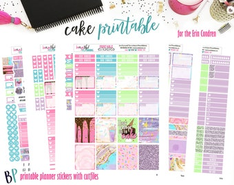 Cake | Weekly Printable Planner Kit | Planner Stickers | Cut Line Files | for use with Erin Condren | Planner Stickers Printables