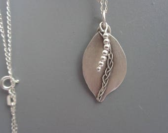Leaf Silver Pendant. Handmade Sterling Silver Necklace, Pendant. Sterling Silver Oxidiezd Pendant, Necklace. Fair Trade Jewelry.