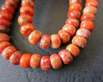 Not Available --2 strands --Fire Orange Sea Sediment Imperial Rondelles Abacus Wheel 6x4mm desinger gemstone beads --100pcs full strand