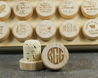 Monogrammed Engraved Wine Stopper, Monogrammed Wood Wine Bottle Stopper, Personalized Cork Wine Bottle Stopper, Customized Cork Wine Stopper