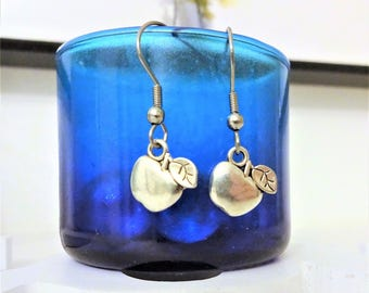 APPLE EARRINGS - lightweight and comfortable - surgical stainless steel ear wires - non allergic, hypoallergic, sensitive ears ear wires