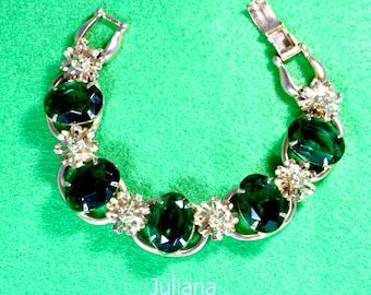 Juliana 5 Link Rhinestone Bracelet, D & E DeLizza Elster High End Emerald and Clear Rhinestone Bracelet 1960's.
