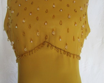 "b43"" Party Gold Satin Vintage 1970s MCM Cocktail Dress Crystal Beading Sleeveless Sweetheart Flair"