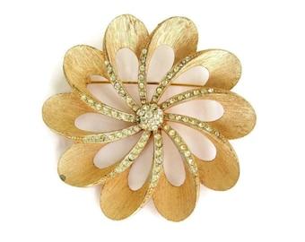 Vintage Capri Goldtone Rhinestone Pinwheel Flower  Pin
