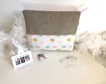 Toiletry bag in natural linen and cotton personalized origami graphic spirit
