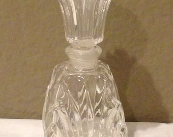 Vintage Glass Perfume Bottle-Clear with Glass Cork-Beautiful!!! EMPTY
