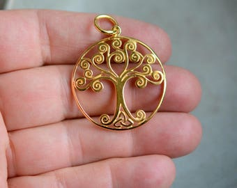Tree of Life Pendant 18K Gold Plated Gold Swirly Tree Life Pendant Family Tree Charm Tree of Life Necklace Tree Jewelry, One, BS17-1102F