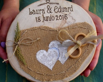 Porta alianzas original# Rustic Wooden Ring Holder# Base rustica para alianza# Custom, Personalizado, Wood Slice Wedding Decor