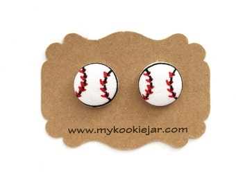 Handmade Fabric Covered Button Earrings MINI Studs or Clip-ons - Love Sports Baseball Earrings, Sports Girl, Sports Jewelry, Baseball Fan