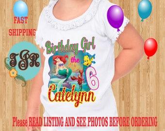 ARIEL Little Mermaid Birthday girl ruffled Shirts Raglan Long Sleeve Short Sleeve Tank tops Infant/Toddler SizesLadies Cut Tshirt onesie