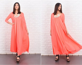 Vintage 60s LUCIE ANN Gown Nightgown Coral Sweep Maxi 3/4 Slv Medium M 7188