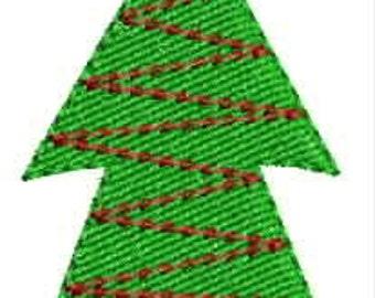 Mini Christmas tree embroidery designs 4 sizes