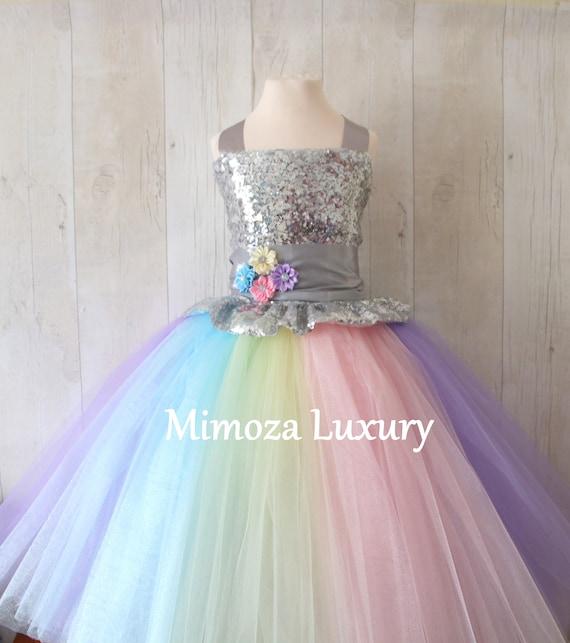 Luxury Unicorn Birthday Dress, unicorn tutu dress, rainbow unicorn girls dress, sequins unicorn dress, silver unicorn dress, 1st birthday