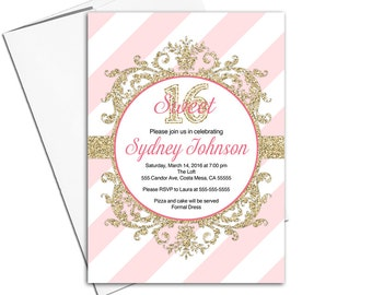 Sweet sixteen birthday party invitations printable or printed   pink gold invitations sweet 16 invitation   birthday party invite - WLP00353