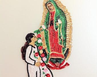 "Our Lady of Guadalupe and Juan Diego Sew-On Sequin Applique La Virgen de Guadalupe y Juan Diego en Lentejuela 16""X9"" Virgin of Guadalupe"