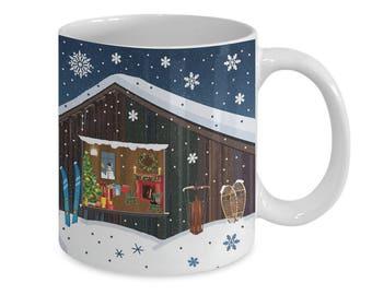 SKI CHALET in SNOWSTORM~Coffee Mug~11oz or 15oz~Gift Mug~Breakfast Mug~Cafe Cups~Friend~Novelty Mug~Present~Winter~Snowflakes~Sled~Snowshoes