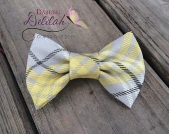 Yellow and Gray Plaid Bow Tie, Bow Tie Photo Prop