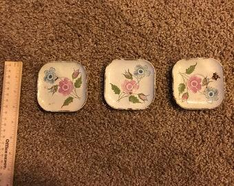 Set of 3 Vintage Children's Toy Metal Square Saucers, floral pattern