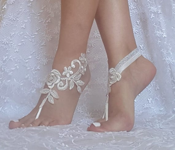 Wedding barefoot sandal, ivory, silvery, beach, barefeet, beach bridal accessories, bridesmaid gift, prom, party, aniversary, engagement