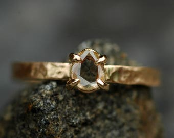 Rose Cut White Diamond on Recycled Gold Ring- Custom Unique Engagement Ring