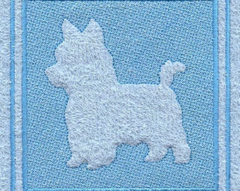 Yorkie Embossed Style Embroidered Flour Sack Hand/Dish Towel
