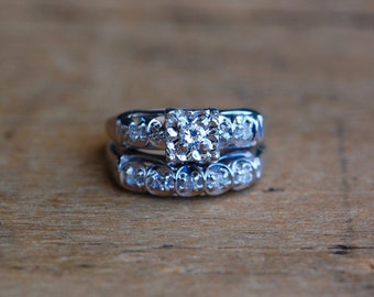 Vintage 1960s 14K white gold diamond bridal set