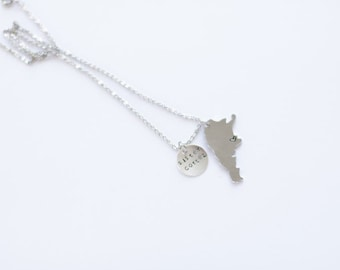Custom Country/State and round drop hand stamped charm necklace in petite lowercase font/ LDS Missionary Necklace/ Missionary Mom Necklace