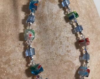 Millefiori, Swarovski Crystal, SS, and Glass Bracelet
