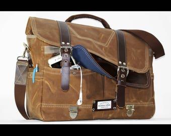 Waxed Canvas Messenger bag - laptop bag handmade by Alex M Lynch - 010060
