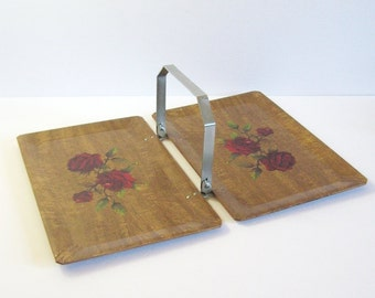 Vintage Haskelite Folding Tray with Handle - Mid Century Kitchen Decor Wood Serving Tray - Red Rose Flower Print Tray - Hasko Tuckaway Tray