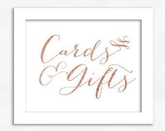 Cards and Gifts Print in Copper Foil Look - Faux Metallic Calligraphy Wedding Gift Table Sign for Reception or Shower (4002)