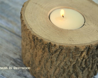 Large Rustic Wood Candle Holder  - Rustic Wedding Centerpiece - Wooden Tea Light Centerpieces - Gift