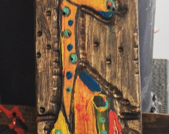 Giraffe Wood Painting-carving- wood- animal artwork