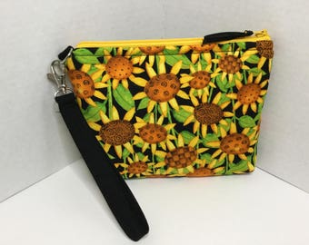 Sunflower wristlet purse- wallet- cell phone bag- travel bag- change purse- cosmetic