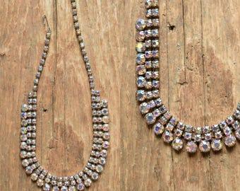 Aurora Borealis Rhinestone Necklace - Rainbow Jewelry - Unicorn necklace - Aurora rhinestone necklace - vintage rhinestone jewelry