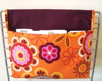 40% Off Cotton Fabric Coupon Organizer / Budget Organizer Holder - Attaches To Your Shopping Cart- ORANGE FLORAL