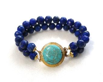 Gorgeous Double Strand Lapis Bracelet with Vintage Turquoise Clasp...