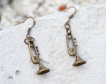 Teacher gift Trumpet Earring Musician Lovely Trumpet Vintage Style Jewelry Musical Instrument Cornet Marching Band accessory Music lover Gif