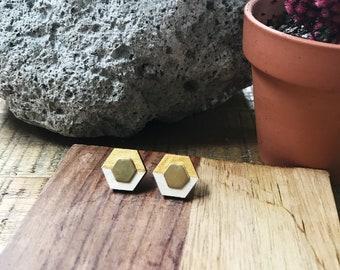 Wood + Brass + Hexagon Studs  + Handmade Jewelry + Boho