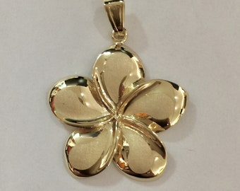 14k solid yellow gold plumeria flower hawaii diamond cut flower XL pendant