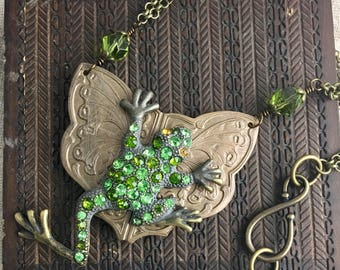 """The Whimsical Frog, vintage assemblage necklace, green, rhinestone, Art Deco, antique, altered, 28"""""""