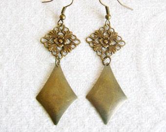 Long Brass Filigree Earrings with Diamond Shape