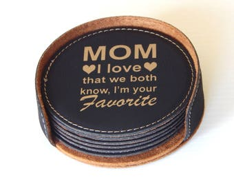 MOM Coaster Set Gift - Gifts for Mothers Day Personalized - Birthday Gift for Mom - Mother's Day Gift, CAS001