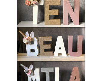 Personalised Unicorn Letters & Numbers - Floral Flowers Glitter Birthday Party Theme Name