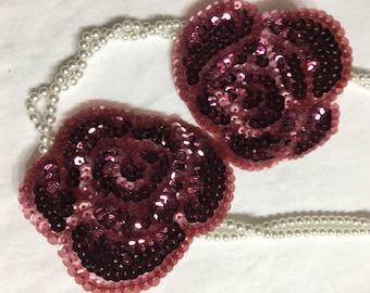 2 Beaded Sequins FLOWERS  Applique in BURGUNDY