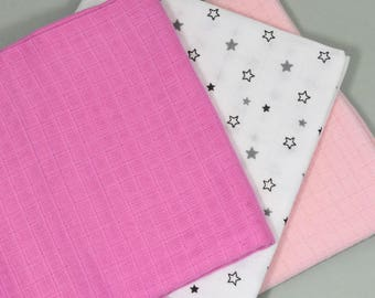 Set of 3 diapers for baby - cotton muslin