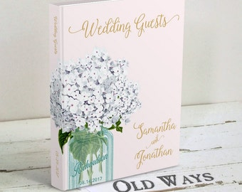 Rustic Gold and Pink Wedding Guest Book - Mason Jar, White Hydrangea Flowers, Blush Pink - Traditional Hardcover Guest Book, Wedding Wishes
