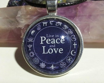 Live in Peace and Love Necklace + Free Shipping Worldwide ~ Peace Necklace, Peace and Love,Spiritual Jewelry,Spiritual Symbols,Peace Jewelry
