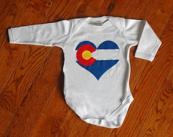 Love Colorado Baby One-Piece Bodysuit LG Sleeves w/ silkscreened Colorado Flag Heart - Perfect Baby Gift!