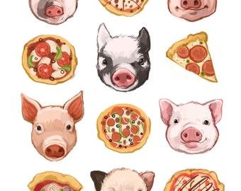 Fine Art Print - Pigs and Pizza Illustration